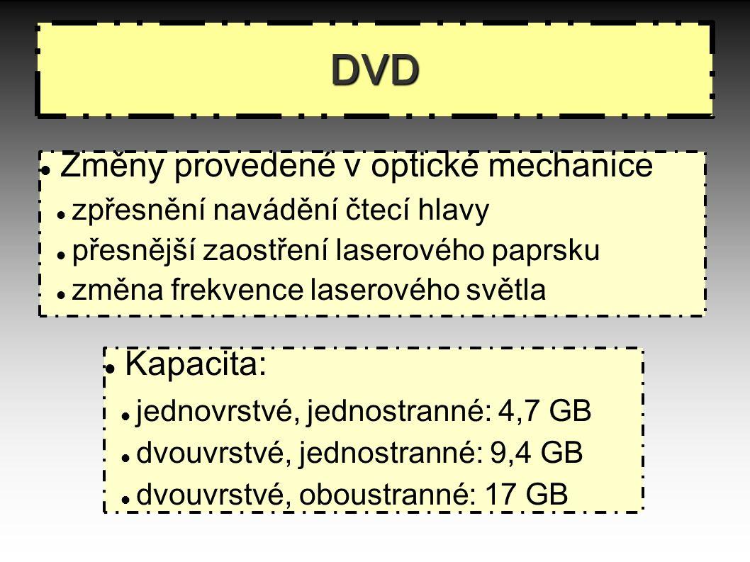 DVD Změny provedené v optické mechanice zpřesnění navádění čtecí hlavy přesnější zaostření laserového paprsku změna frekvence laserového světla Kapacita: jednovrstvé, jednostranné: 4,7 GB dvouvrstvé, jednostranné: 9,4 GB dvouvrstvé, oboustranné: 17 GB