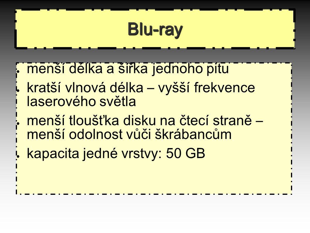 Blu-ray menší délka a šířka jednoho pitu kratší vlnová délka – vyšší frekvence laserového světla menší tloušťka disku na čtecí straně – menší odolnost