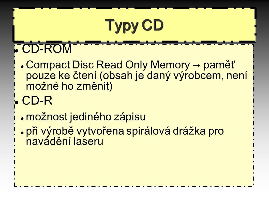 Typy CD CD-ROM Compact Disc Read Only Memory → paměť pouze ke čtení (obsah je daný výrobcem, není možné ho změnit)  CD-R možnost jediného zápisu při