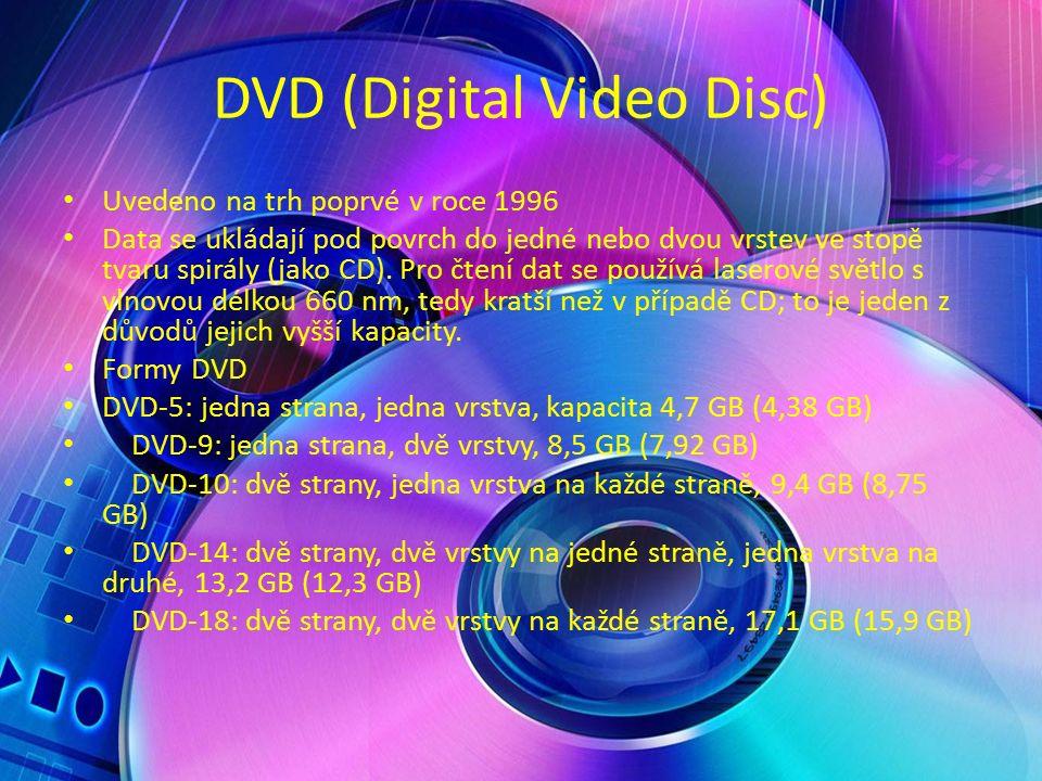 DVD (Digital Video Disc) Uvedeno na trh poprvé v roce 1996 Data se ukládají pod povrch do jedné nebo dvou vrstev ve stopě tvaru spirály (jako CD).