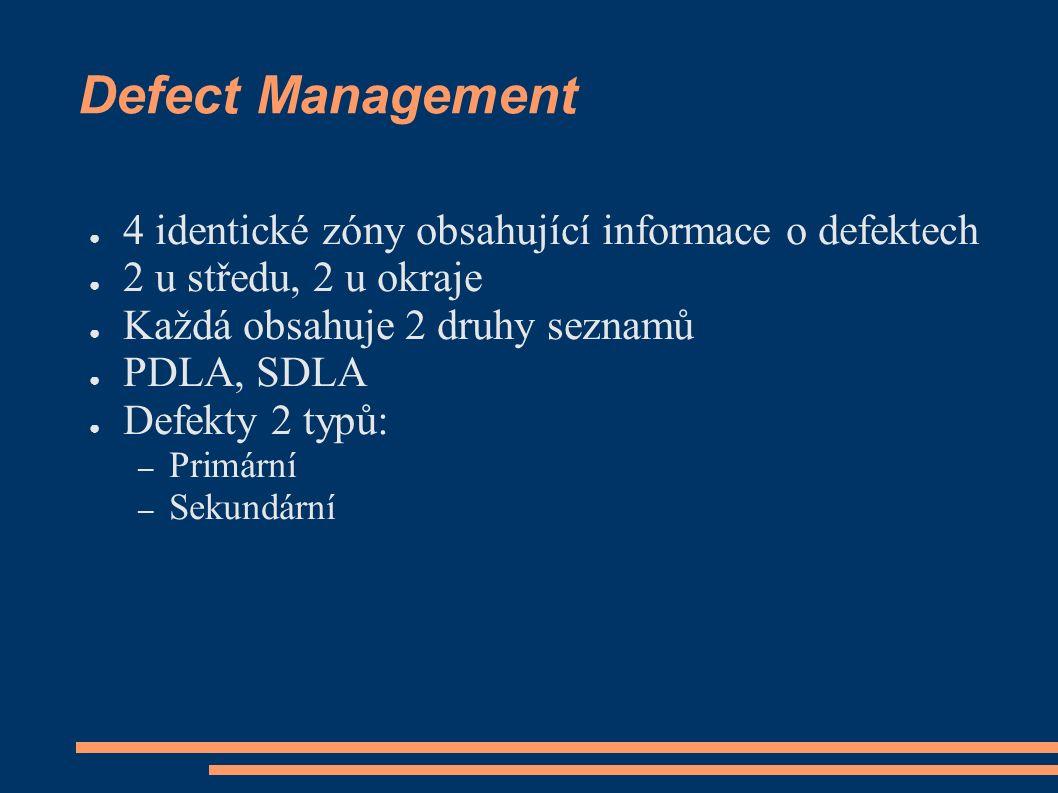 Defect Management ● 4 identické zóny obsahující informace o defektech ● 2 u středu, 2 u okraje ● Každá obsahuje 2 druhy seznamů ● PDLA, SDLA ● Defekty 2 typů: – Primární – Sekundární