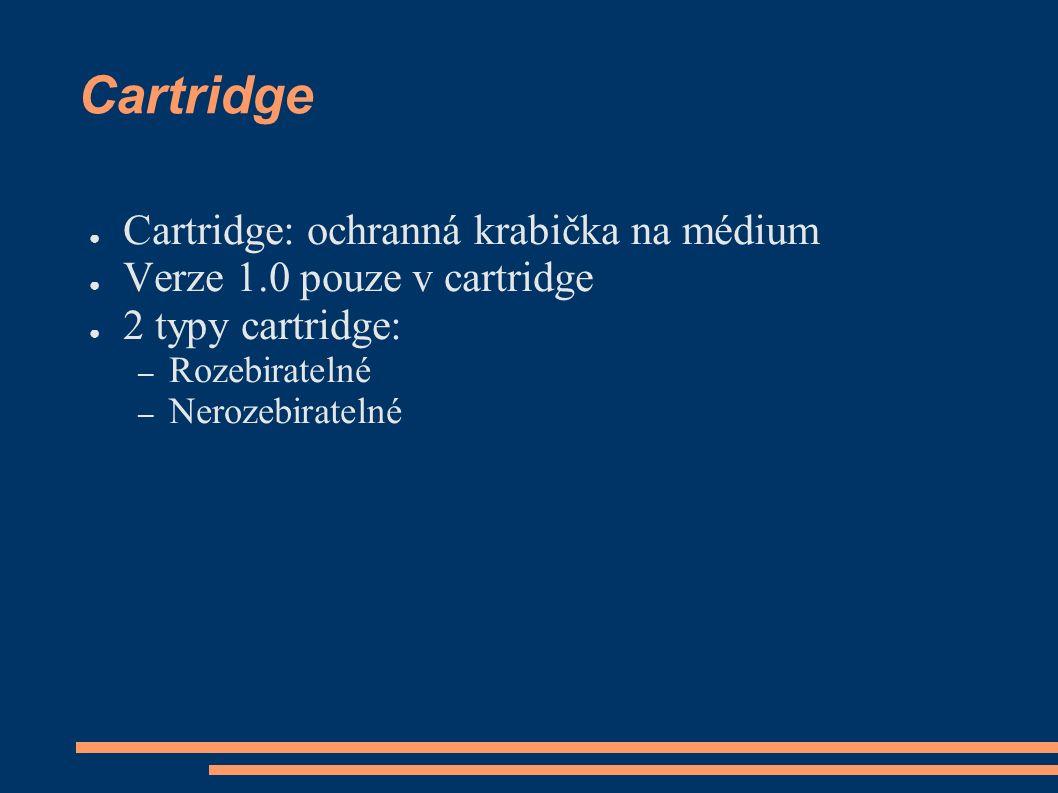 Cartridge ● Cartridge: ochranná krabička na médium ● Verze 1.0 pouze v cartridge ● 2 typy cartridge: – Rozebiratelné – Nerozebiratelné