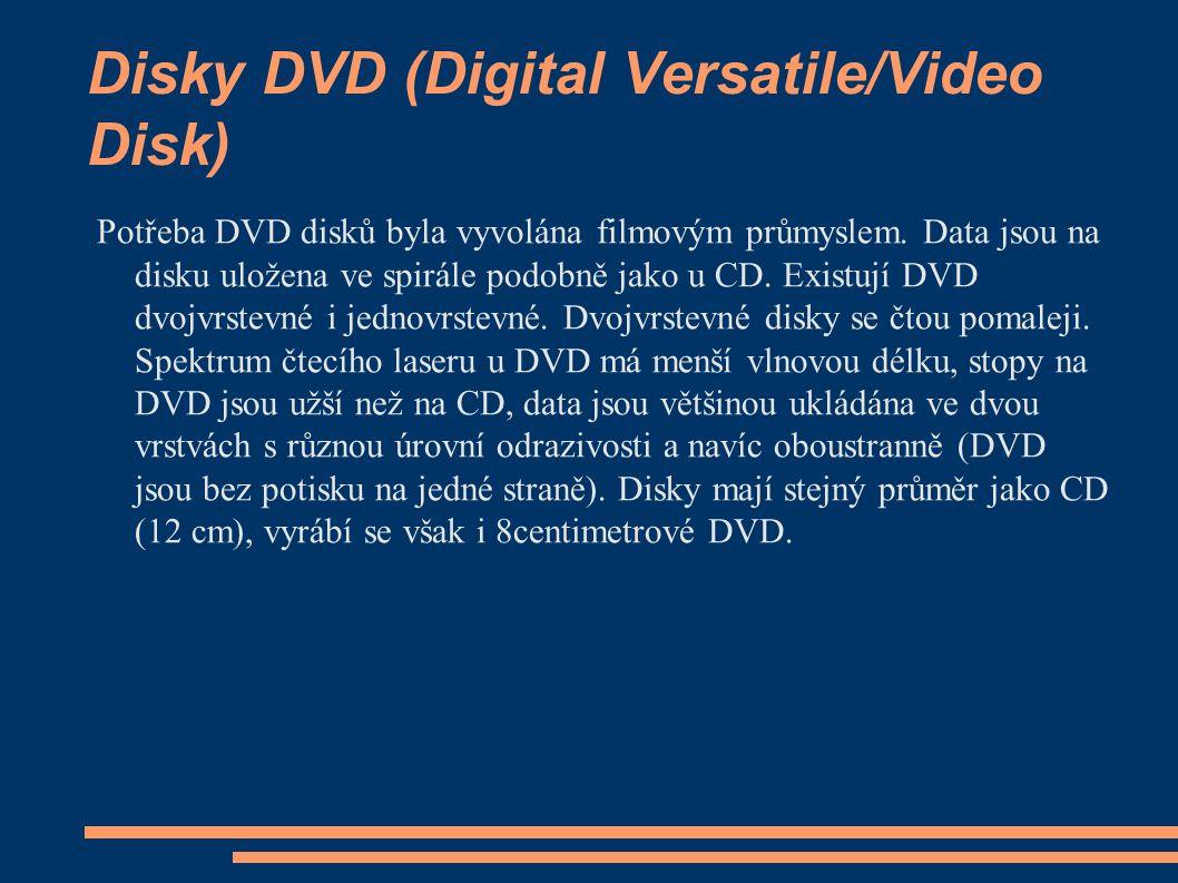 Disky DVD (Digital Versatile/Video Disk) Potřeba DVD disků byla vyvolána filmovým průmyslem. Data jsou na disku uložena ve spirále podobně jako u CD.