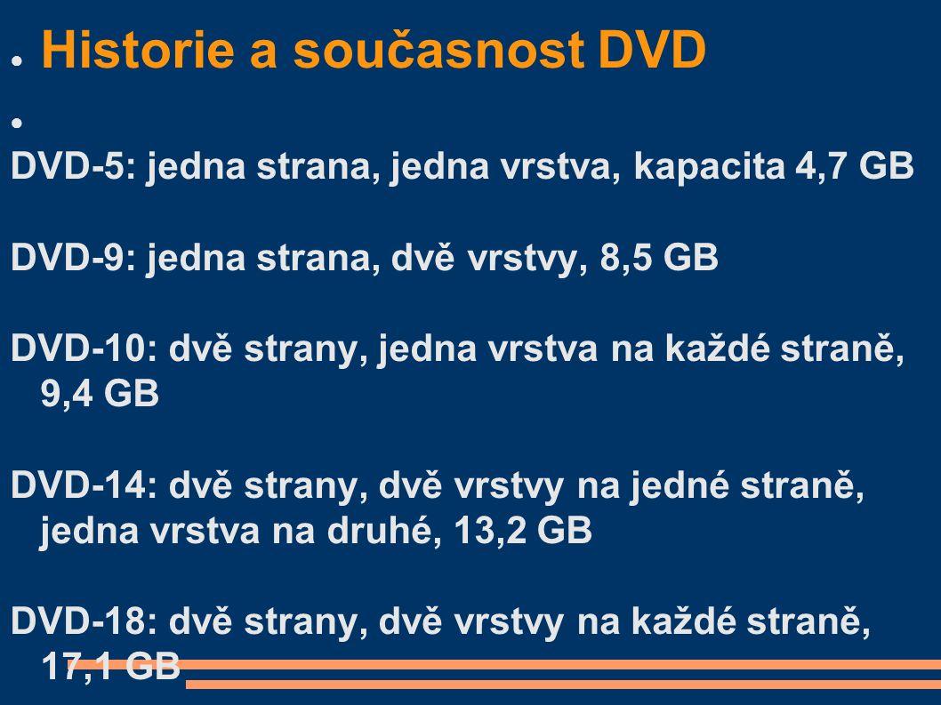 ● Historie a současnost DVD ● DVD-5: jedna strana, jedna vrstva, kapacita 4,7 GB DVD-9: jedna strana, dvě vrstvy, 8,5 GB DVD-10: dvě strany, jedna vrs
