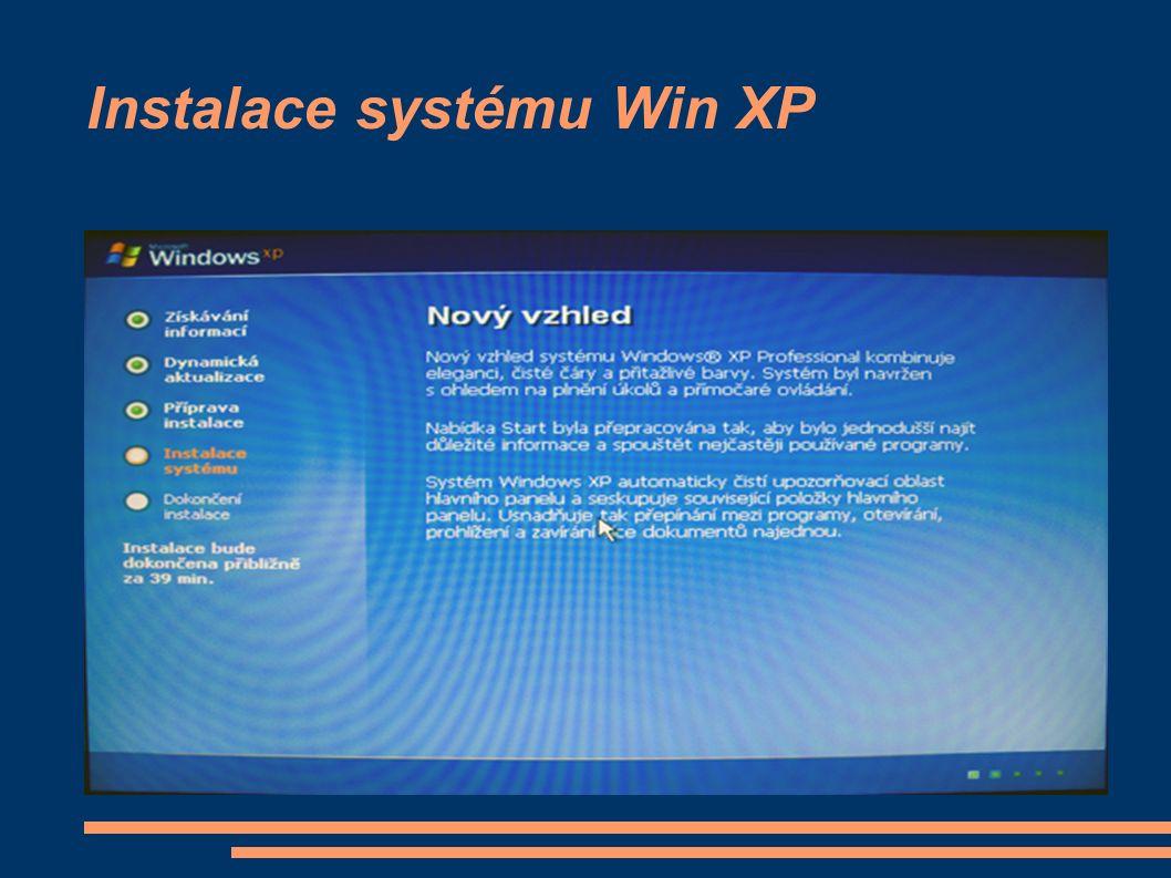 Instalace systému Win XP