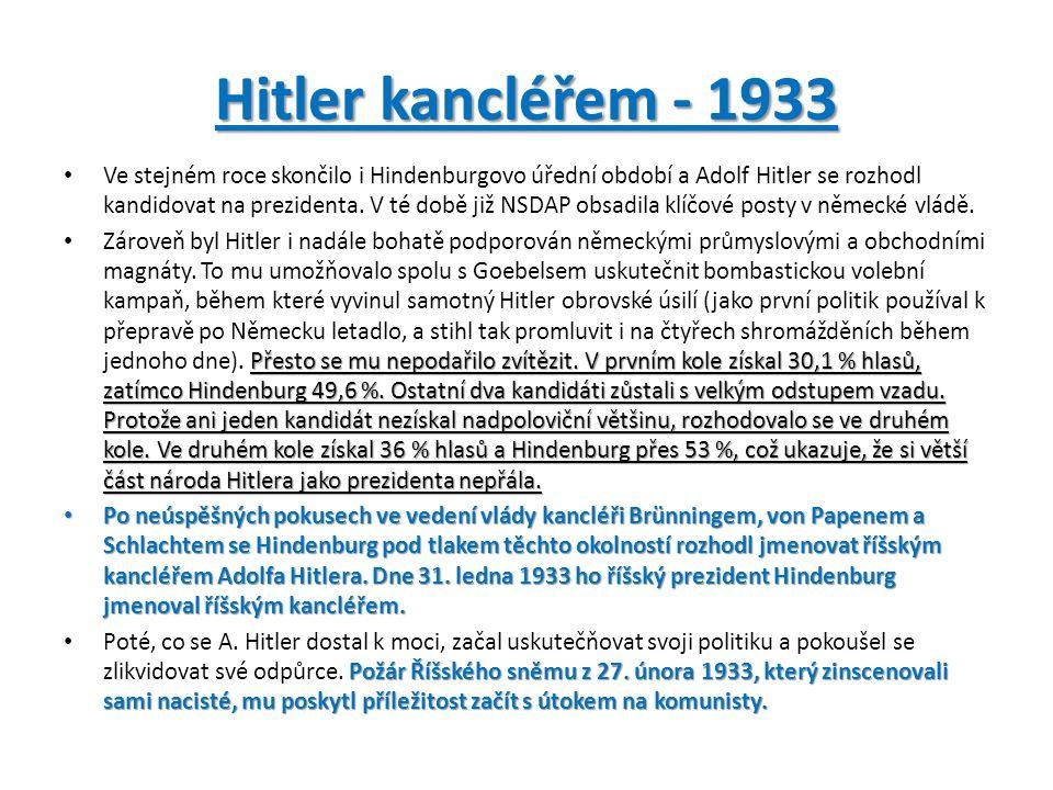Hitler kancléřem - 1933 Ve stejném roce skončilo i Hindenburgovo úřední období a Adolf Hitler se rozhodl kandidovat na prezidenta.