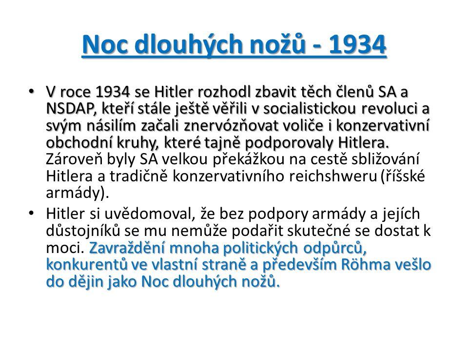Noc dlouhých nožů - 1934 V roce 1934 se Hitler rozhodl zbavit těch členů SA a NSDAP, kteří stále ještě věřili v socialistickou revoluci a svým násilím začali znervózňovat voliče i konzervativní obchodní kruhy, které tajně podporovaly Hitlera.