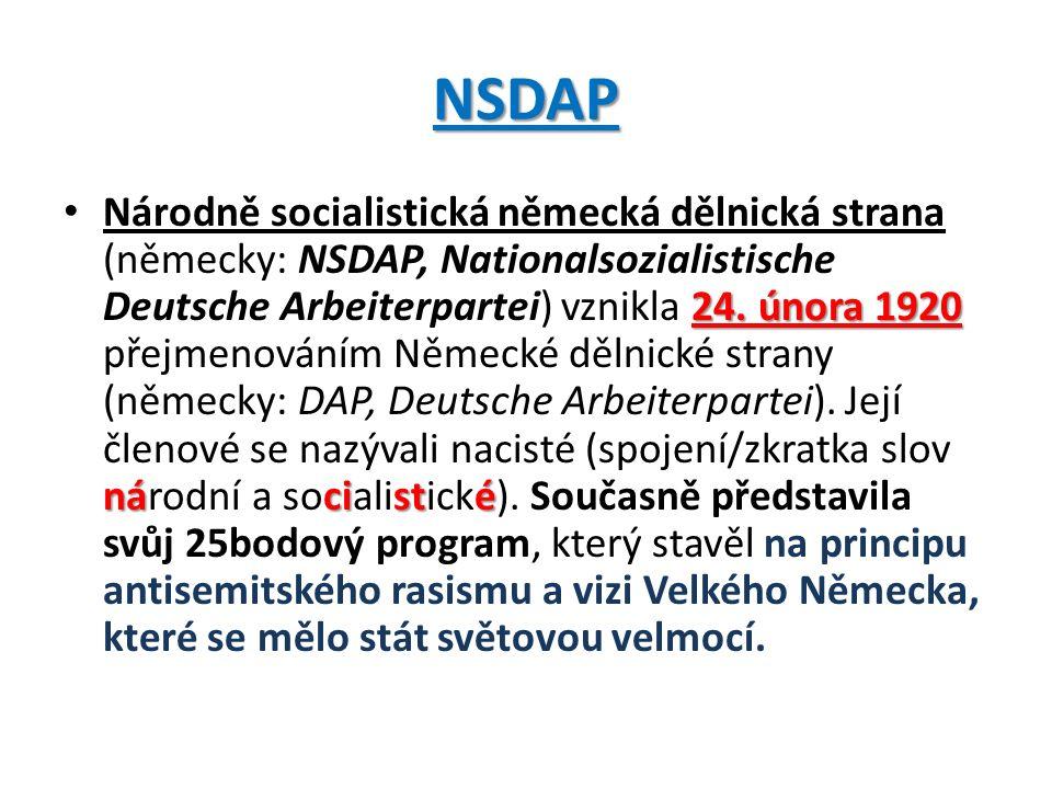 25 bodů programu NSDAP 1) Sjednocení všech Němců do Velkoněmecké říše.
