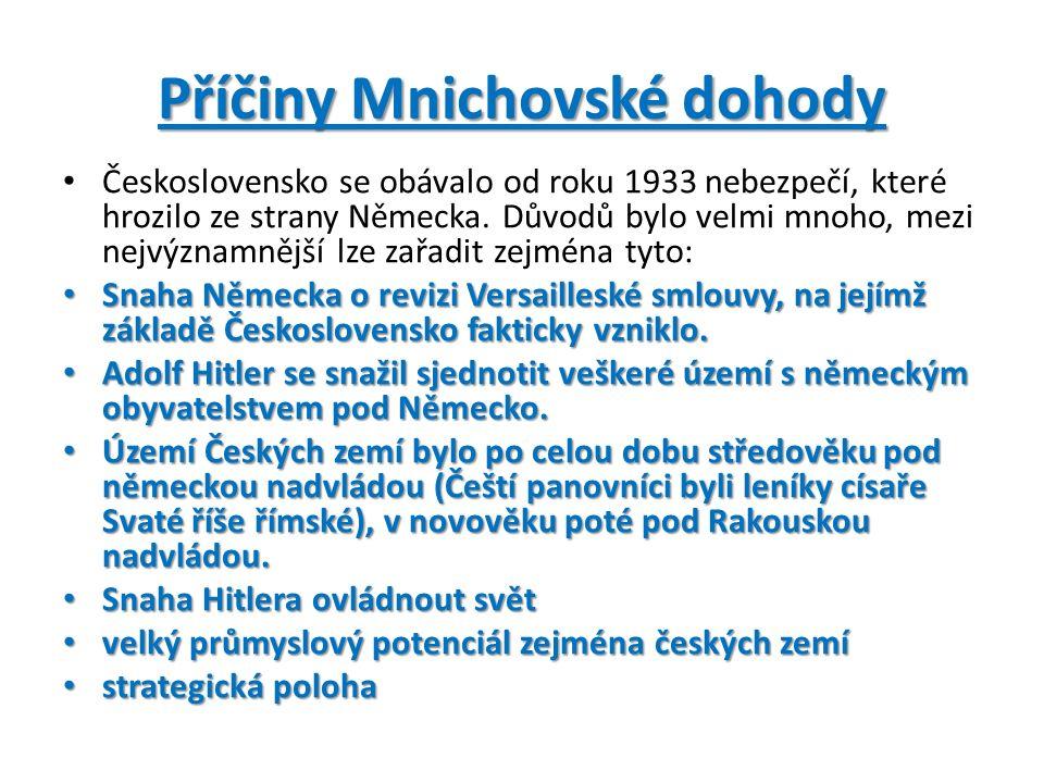 Příčiny Mnichovské dohody Československo se obávalo od roku 1933 nebezpečí, které hrozilo ze strany Německa.