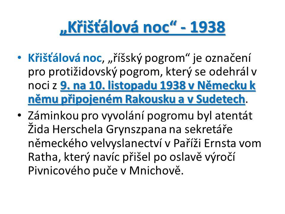 """""""Křišťálová noc - 1938 9. na 10."""