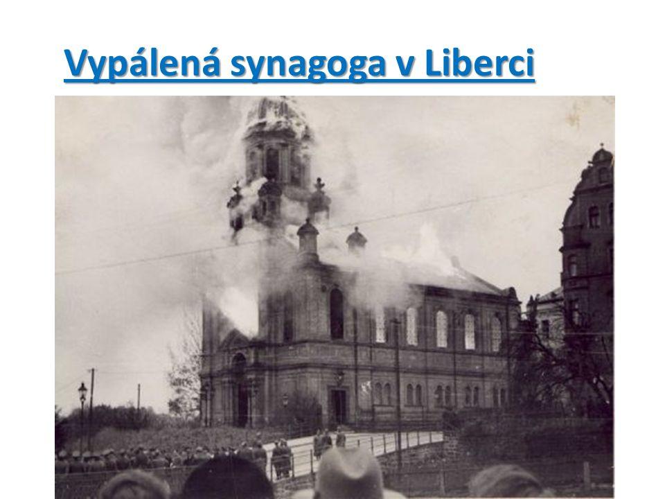 Vypálená synagoga v Liberci