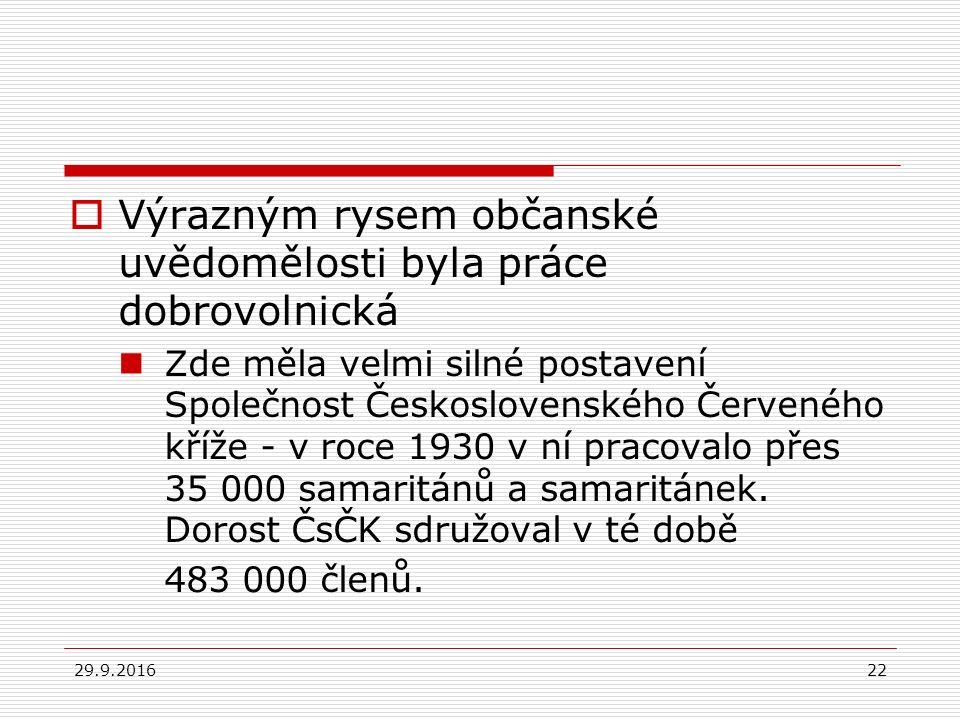29.9.201622  Výrazným rysem občanské uvědomělosti byla práce dobrovolnická Zde měla velmi silné postavení Společnost Československého Červeného kříže - v roce 1930 v ní pracovalo přes 35 000 samaritánů a samaritánek.