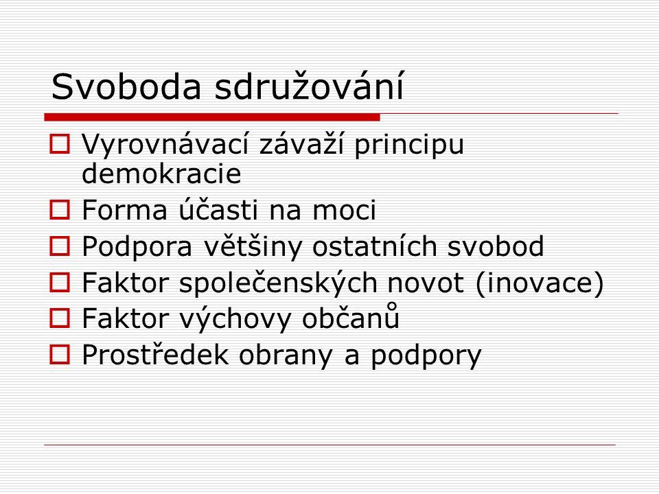 Svoboda sdružování  Vyrovnávací závaží principu demokracie  Forma účasti na moci  Podpora většiny ostatních svobod  Faktor společenských novot (in