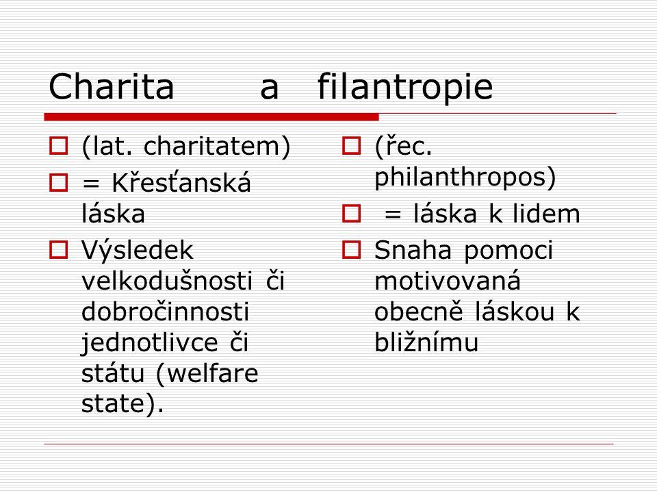 Charita a filantropie  (lat. charitatem)  = Křesťanská láska  Výsledek velkodušnosti či dobročinnosti jednotlivce či státu (welfare state).  (řec.