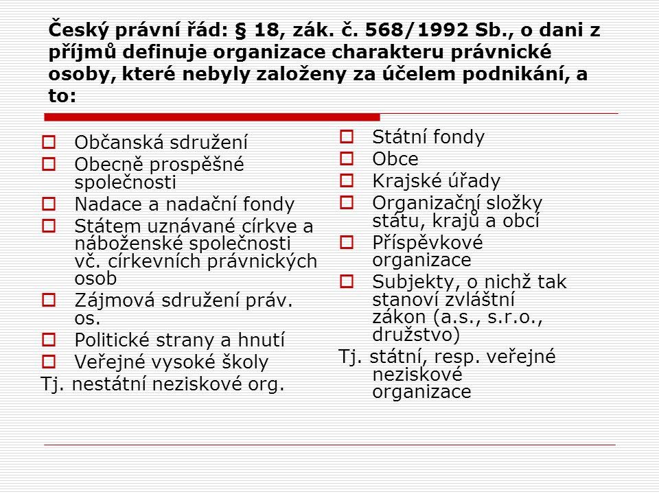 Český právní řád: § 18, zák. č. 568/1992 Sb., o dani z příjmů definuje organizace charakteru právnické osoby, které nebyly založeny za účelem podnikán