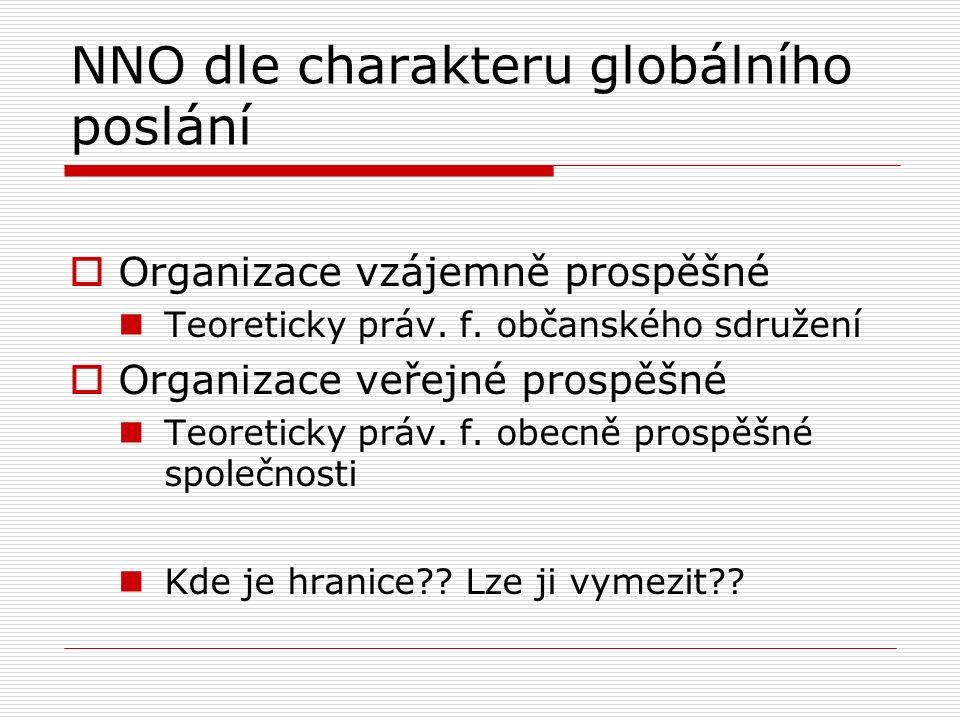 NNO dle charakteru globálního poslání  Organizace vzájemně prospěšné Teoreticky práv. f. občanského sdružení  Organizace veřejné prospěšné Teoretick