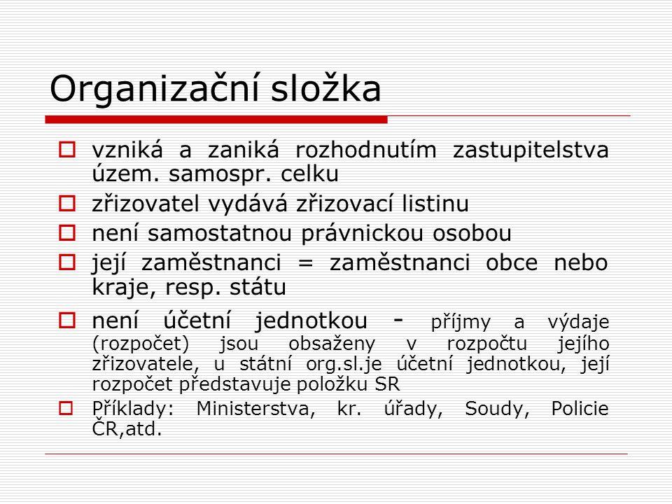 Organizační složka  vzniká a zaniká rozhodnutím zastupitelstva územ. samospr. celku  zřizovatel vydává zřizovací listinu  není samostatnou právnick