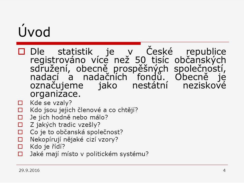 29.9.20164 Úvod  Dle statistik je v České republice registrováno více než 50 tisíc občanských sdružení, obecně prospěšných společností, nadací a nadačních fondů.