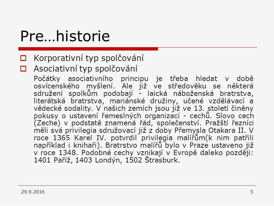 29.9.201616 Příklady spolků…  SPOLEK STÁLCŮ  Společnost pro lidská práva (1835)  Spolek Evropa (1854)  Spolek ctnostných  Spolek pro péči o propuštěné vězně  SOKOL (1862)  …