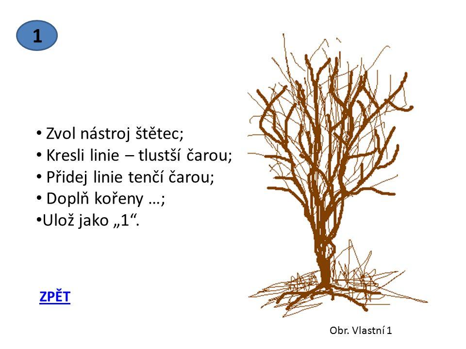 "1 Zvol nástroj štětec; Kresli linie – tlustší čarou; Přidej linie tenčí čarou; Doplň kořeny …; Ulož jako ""1 ."