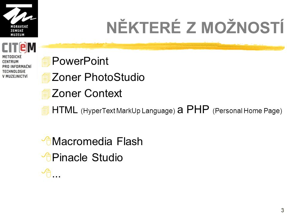 3 NĚKTERÉ Z MOŽNOSTÍ  PowerPoint  Zoner PhotoStudio  Zoner Context  HTML (HyperText MarkUp Language) a PHP (Personal Home Page)  Macromedia Flash  Pinacle Studio ...