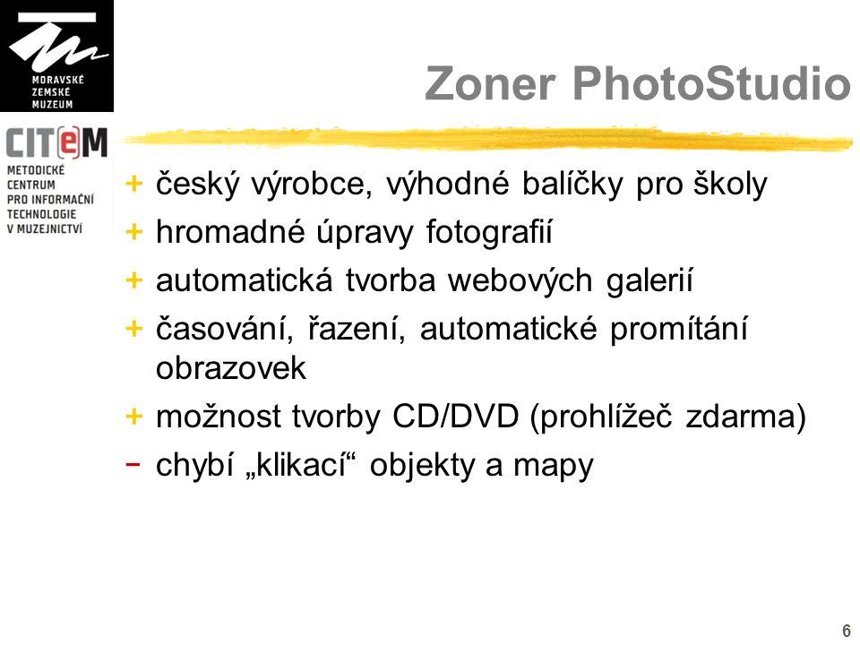 """6 Zoner PhotoStudio + český výrobce, výhodné balíčky pro školy + hromadné úpravy fotografií + automatická tvorba webových galerií + časování, řazení, automatické promítání obrazovek + možnost tvorby CD/DVD (prohlížeč zdarma) - chybí """"klikací objekty a mapy"""
