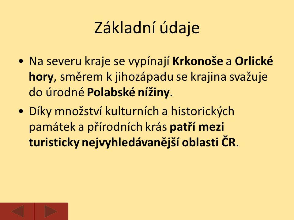 Základní údaje Na severu kraje se vypínají Krkonoše a Orlické hory, směrem k jihozápadu se krajina svažuje do úrodné Polabské nížiny.