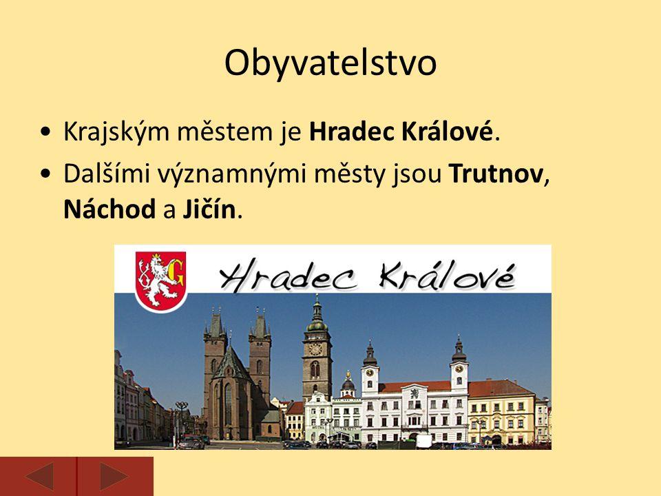 Krajským městem je Hradec Králové. Dalšími významnými městy jsou Trutnov, Náchod a Jičín.