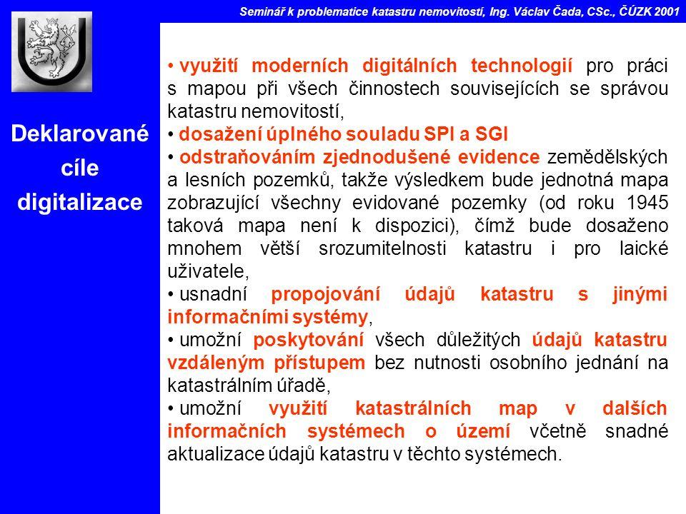 Deklarované cíle digitalizace Seminář k problematice katastru nemovitostí, Ing.