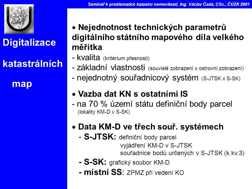 Digitalizace katastrálních map Seminář k problematice katastru nemovitostí, Ing.