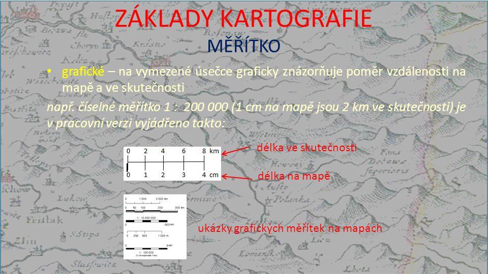 ZÁKLADY KARTOGRAFIE MĚŘÍTKO grafické – na vymezené úsečce graficky znázorňuje poměr vzdálenosti na mapě a ve skutečnosti např.