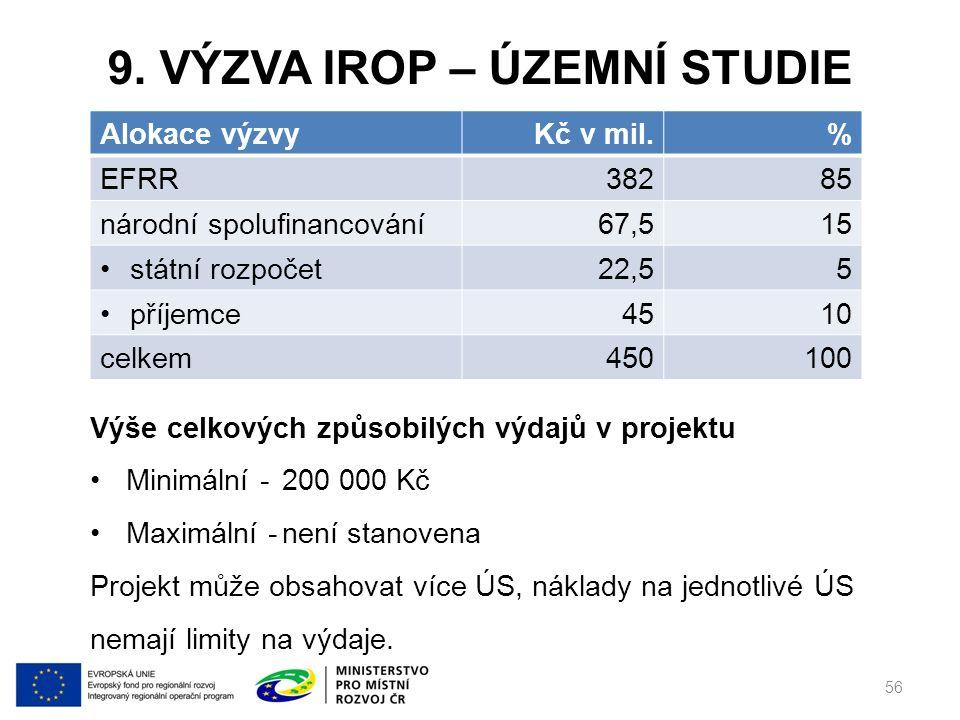 9. VÝZVA IROP – ÚZEMNÍ STUDIE 56 Alokace výzvyKč v mil.% EFRR38285 národní spolufinancování67,515 státní rozpočet22,55 příjemce4510 celkem450100 Výše