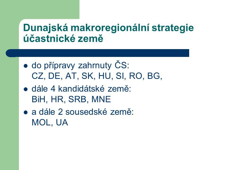 Dunajská makroregionální strategie účastnické země do přípravy zahrnuty ČS: CZ, DE, AT, SK, HU, SI, RO, BG, dále 4 kandidátské země: BiH, HR, SRB, MNE a dále 2 sousedské země: MOL, UA