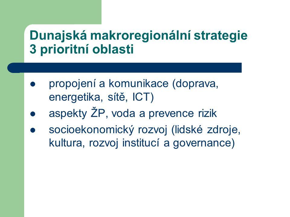 Dunajská makroregionální strategie 3 prioritní oblasti propojení a komunikace (doprava, energetika, sítě, ICT) aspekty ŽP, voda a prevence rizik socioekonomický rozvoj (lidské zdroje, kultura, rozvoj institucí a governance)