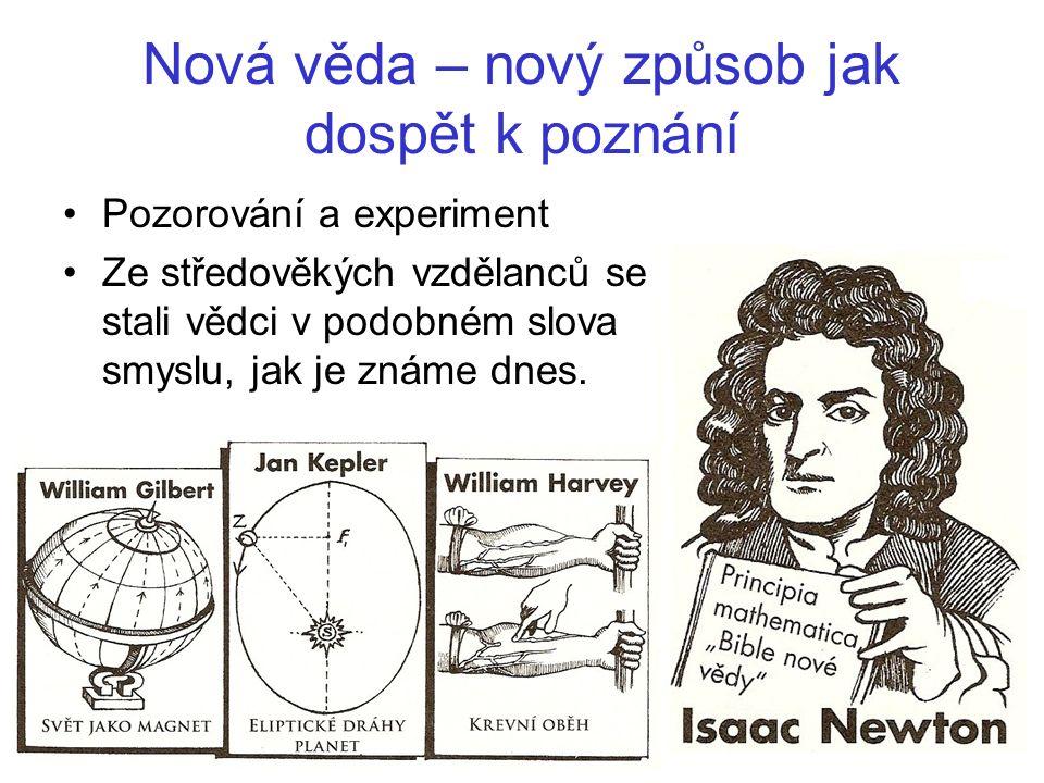 Nová věda – nový způsob jak dospět k poznání Pozorování a experiment Ze středověkých vzdělanců se stali vědci v podobném slova smyslu, jak je známe dnes.