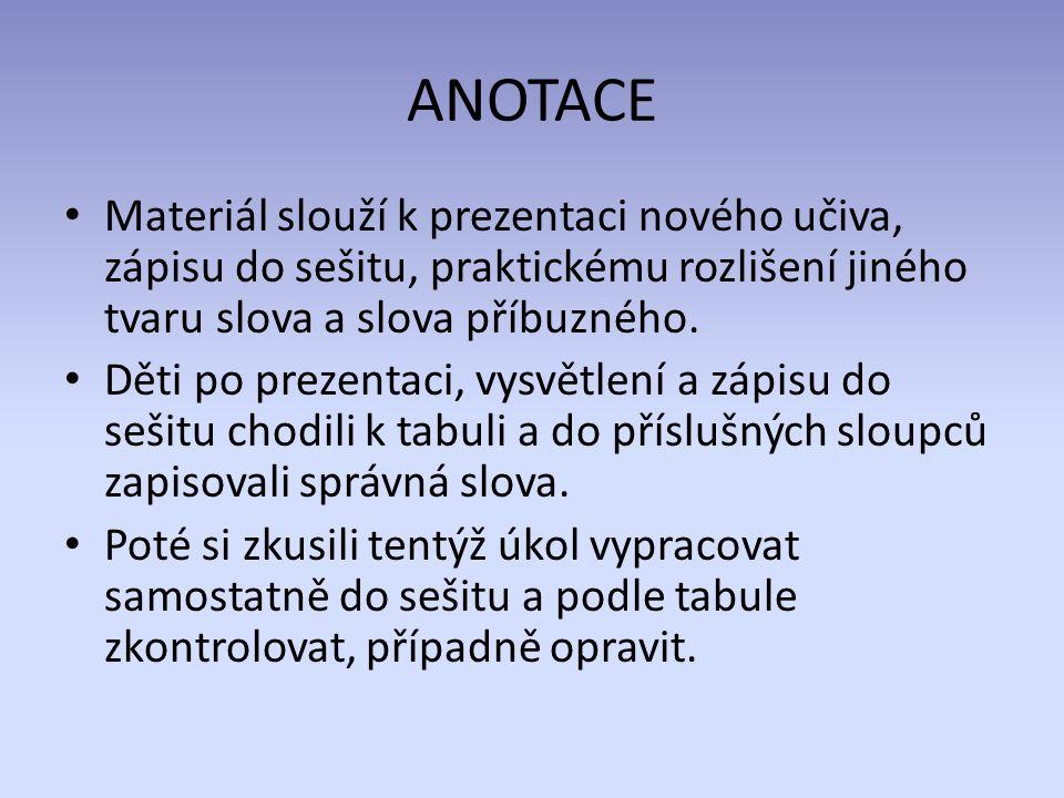 ANOTACE Materiál slouží k prezentaci nového učiva, zápisu do sešitu, praktickému rozlišení jiného tvaru slova a slova příbuzného.