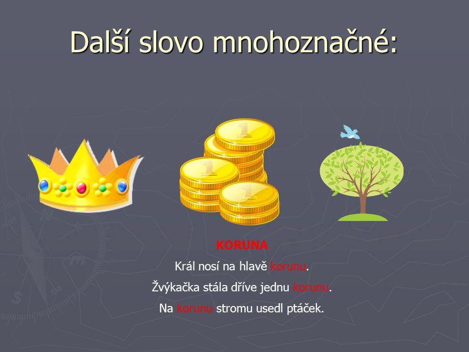 Další slovo mnohoznačné: KORUNA Král nosí na hlavě korunu.