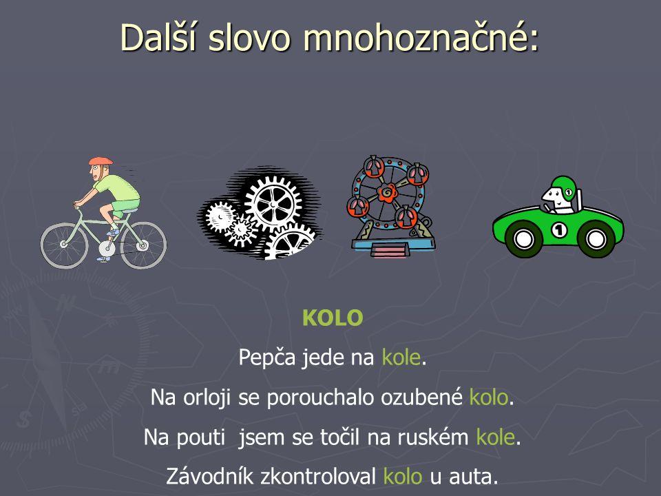 Další slovo mnohoznačné: KOLO Pepča jede na kole. Na orloji se porouchalo ozubené kolo.