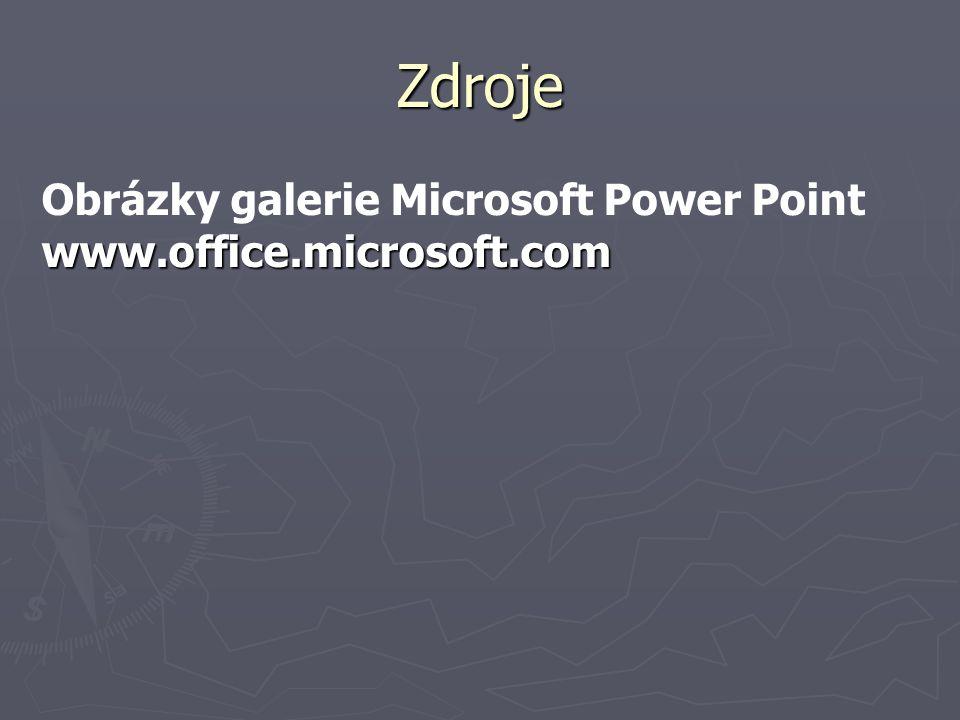 Zdroje Obrázky galerie Microsoft Power Pointwww.office.microsoft.com