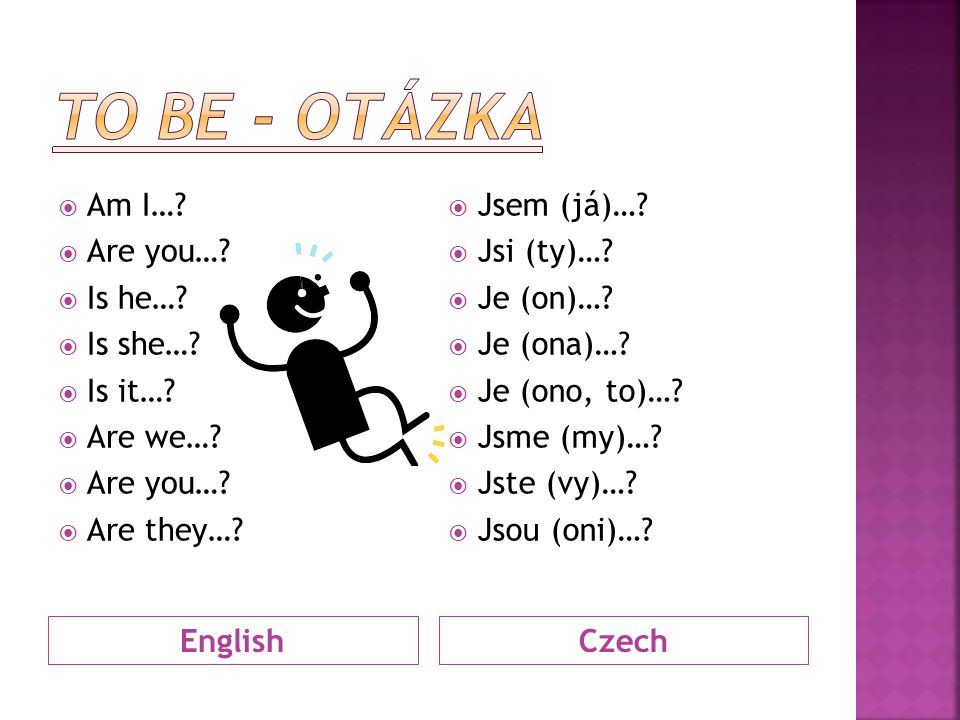 EnglishCzech  Am I…?  Are you…?  Is he…?  Is she…?  Is it…?  Are we…?  Are you…?  Are they…?  Jsem (já)…?  Jsi (ty)…?  Je (on)…?  Je (ona)