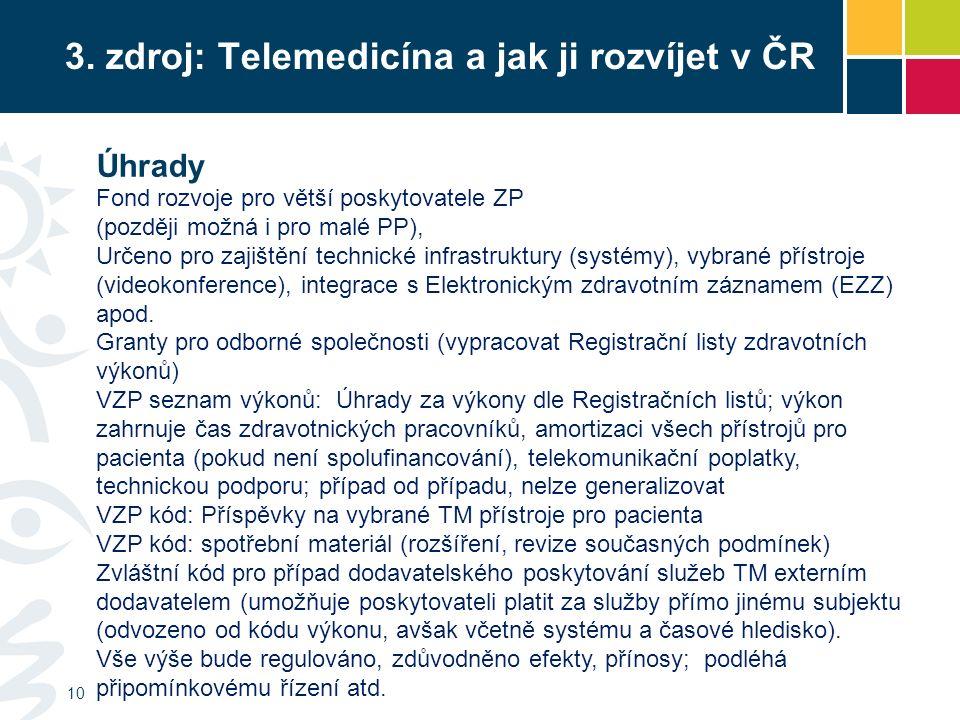 3. zdroj: Telemedicína a jak ji rozvíjet v ČR 10 Fond rozvoje pro větší poskytovatele ZP (později možná i pro malé PP), Určeno pro zajištění technické