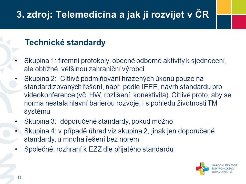3. zdroj: Telemedicína a jak ji rozvíjet v ČR 11 Technické standardy Skupina 1: firemní protokoly, obecné odborné aktivity k sjednocení, ale obtížné,