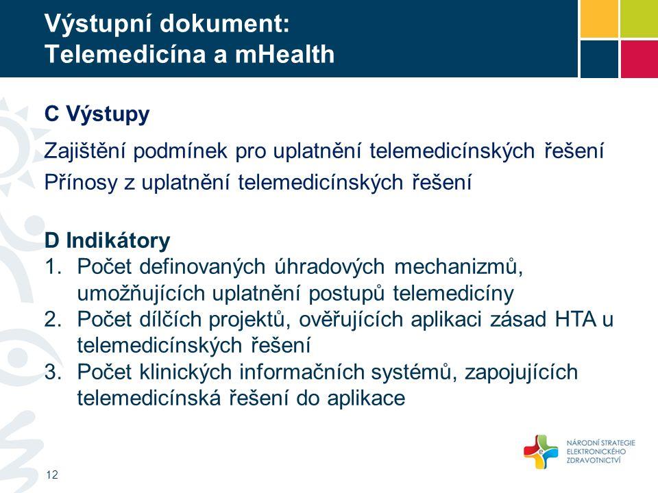 Výstupní dokument: Telemedicína a mHealth 12 C Výstupy Zajištění podmínek pro uplatnění telemedicínských řešení Přínosy z uplatnění telemedicínských ř