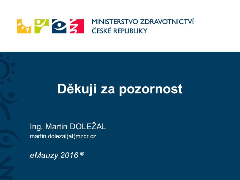 Děkuji za pozornost Ing. Martin DOLEŽAL martin.dolezal(at)mzcr.cz eMauzy 2016 ®