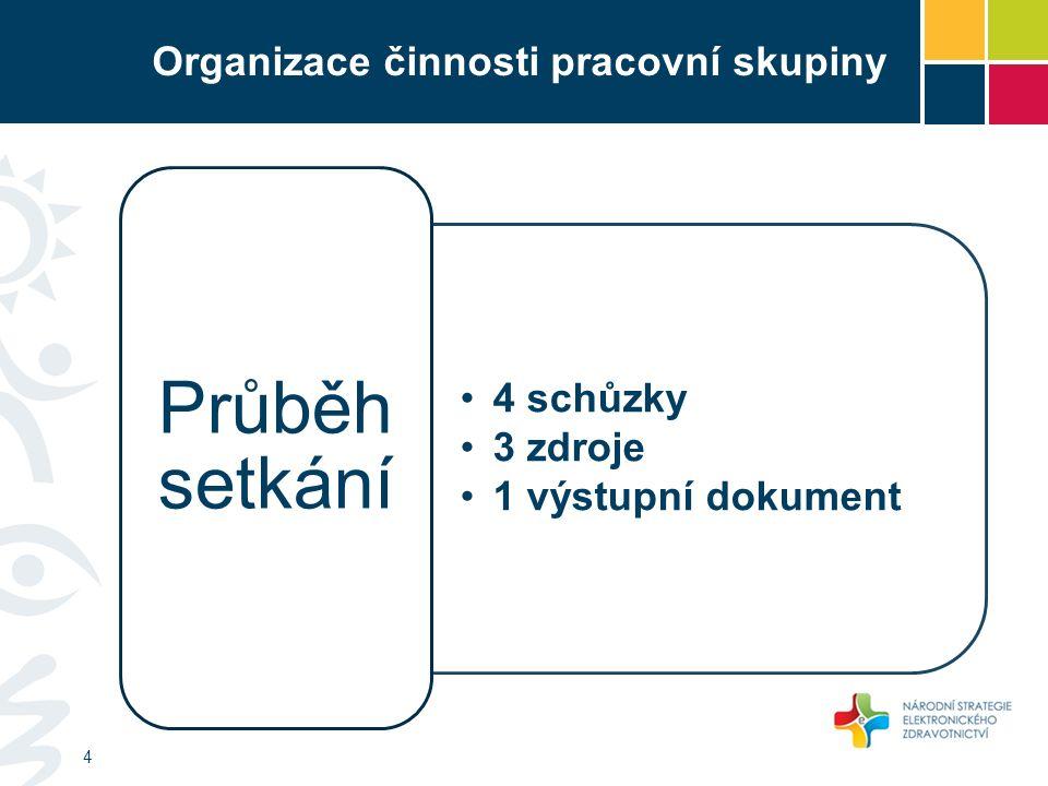 Organizace činnosti pracovní skupiny 4 schůzky 3 zdroje 1 výstupní dokument Průběh setkání 4