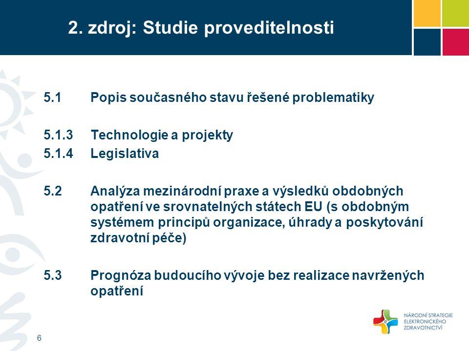 2. zdroj: Studie proveditelnosti 6 5.1Popis současného stavu řešené problematiky 5.1.3Technologie a projekty 5.1.4Legislativa 5.2 Analýza mezinárodní