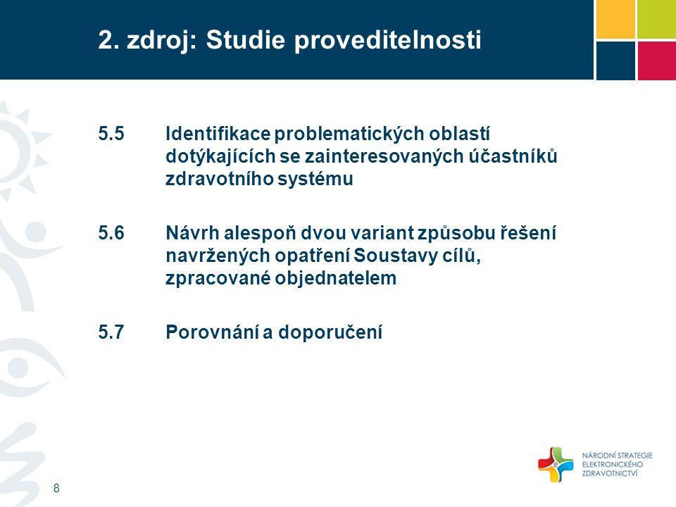 2. zdroj: Studie proveditelnosti 8 5.5Identifikace problematických oblastí dotýkajících se zainteresovaných účastníků zdravotního systému 5.6Návrh ale