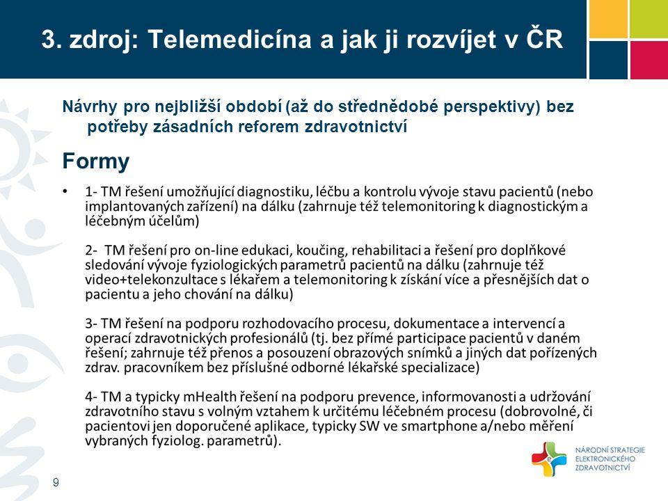 3. zdroj: Telemedicína a jak ji rozvíjet v ČR 9 Návrhy pro nejbližší období (až do střednědobé perspektivy) bez potřeby zásadních reforem zdravotnictv