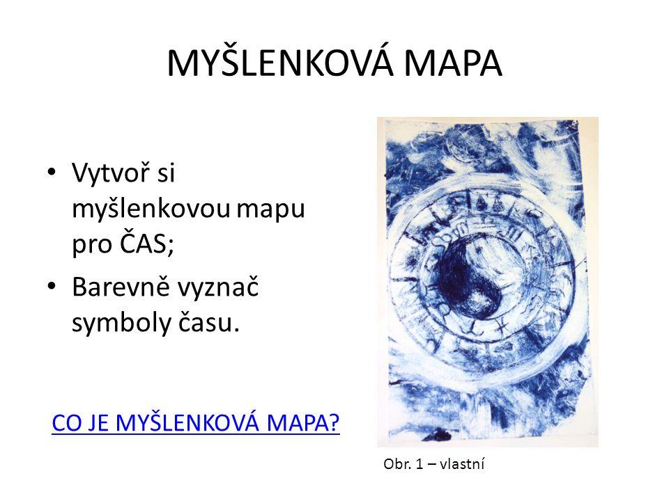 MYŠLENKOVÁ MAPA Vytvoř si myšlenkovou mapu pro ČAS; Barevně vyznač symboly času.