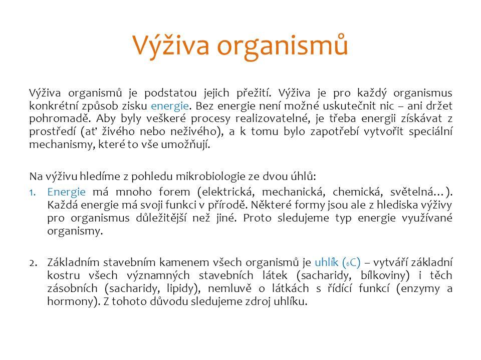 Výživa: 1) podle E Fototrofní – zdrojem energie je sluneční světlo př.: rostliny, cyanobakterie… Chemotrofní – zdrojem je oxidace redukované látky: Chemoorganotrofie(glukóza…) - živočichové, houby Chemolitotrofie (sirovodík, amonné kat…) - bakterie, Archaebacteria